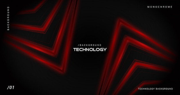 Dark technology background with shiny red lines