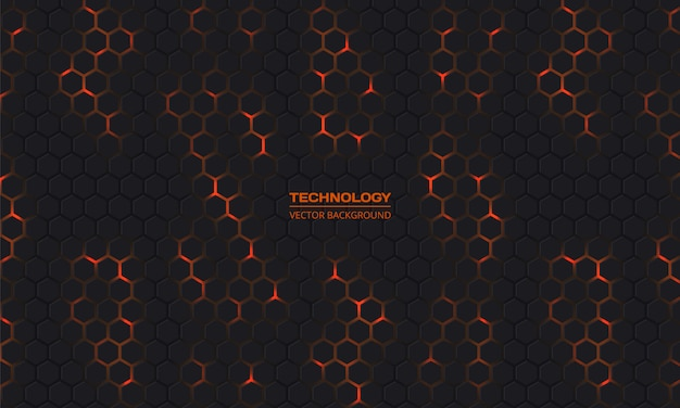 Dark technology hexagonal background.