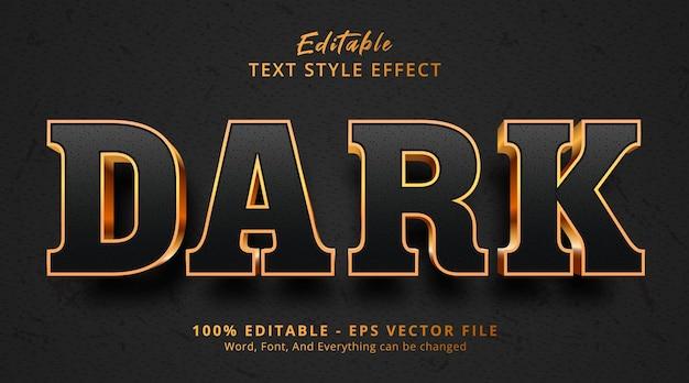 豪華な黒と金のスタイルの効果の暗いテキスト、編集可能なテキスト効果