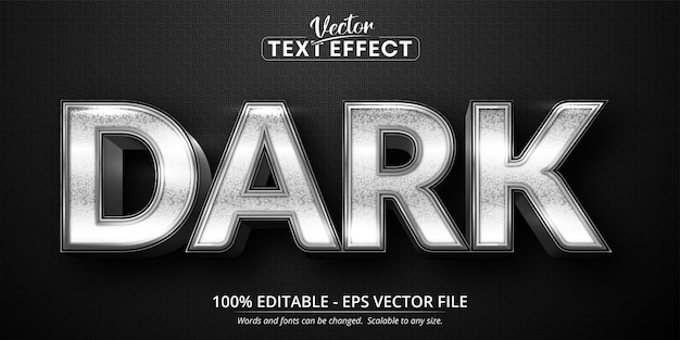 Dark text, shiny silver style editable text effect