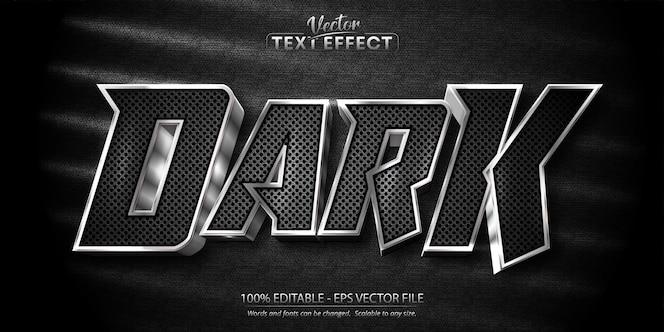 Dark text shiny silver style editable text effect