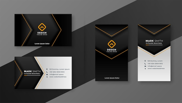 Dark theme modern company business card design template