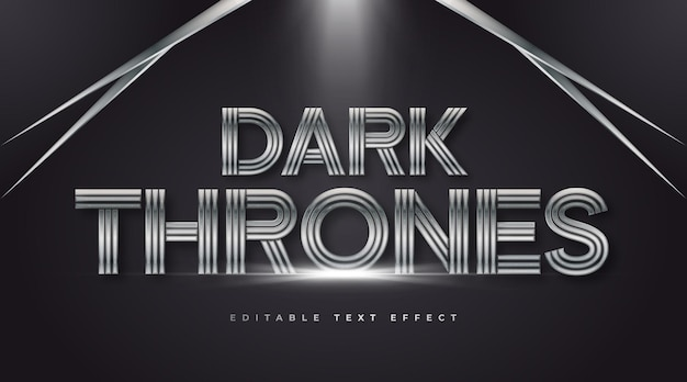 Dark thrones text style with iron and metal effect. editable text style effect