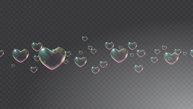 バレンタインカードベクトルの虹色のハート型のシャボン玉と暗い透明な背景