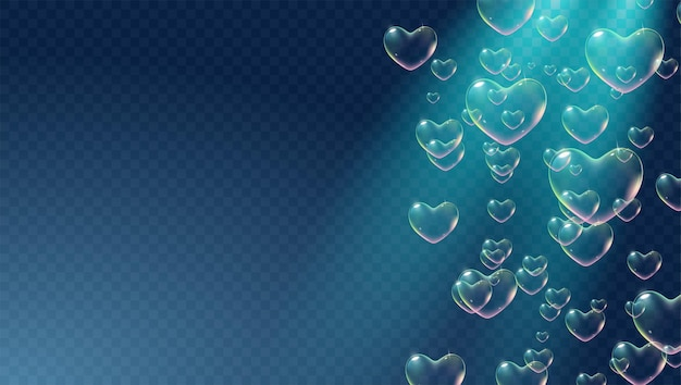 Dark transparent background with rainbow colored heartshaped soap bubbles for valentine card vector
