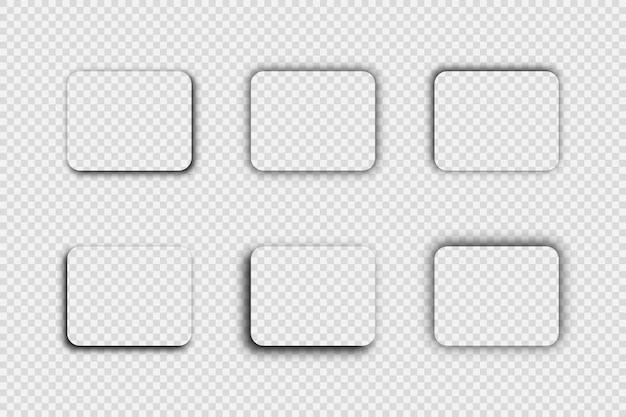 Темная прозрачная реалистичная тень. набор из шести теней прямоугольника с закругленными углами, изолированных на прозрачном фоне. векторная иллюстрация.