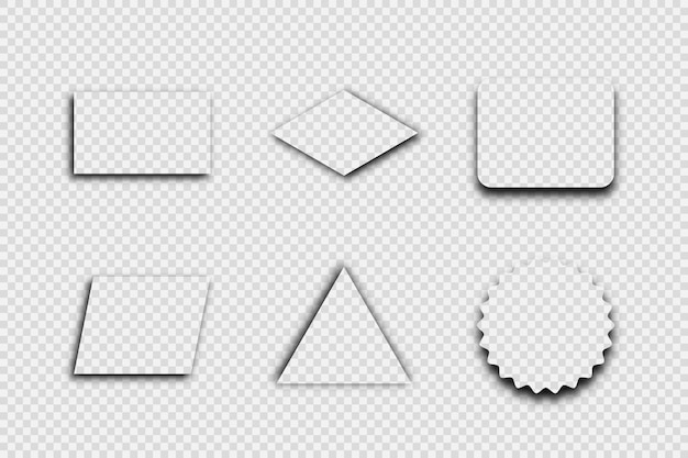 Темная прозрачная реалистичная тень. набор из шести теней, изолированные на прозрачном фоне. векторная иллюстрация.