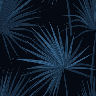 Dark tropical background with jungle plants. seamless tropical pattern with sabal palm leaves. denim indigo colors.