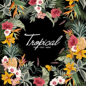 Dark tropical background with jungle plants