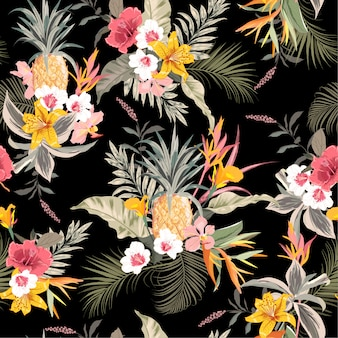 Dark tropical forest exotic colorful black background seamless vector pattern