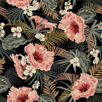 Dark tropical forest at night seamless pattern wallpaper vintage mood leaves of palm trees