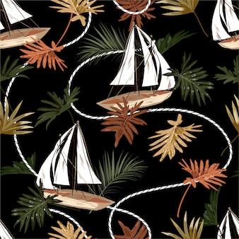 暗い熱帯の葉、ボート、セーラーロープのシームレスなパターンの手描きスタイル