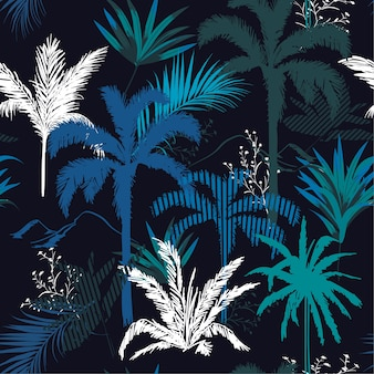 Dark tropical night  leaves and tress  seamless pattern