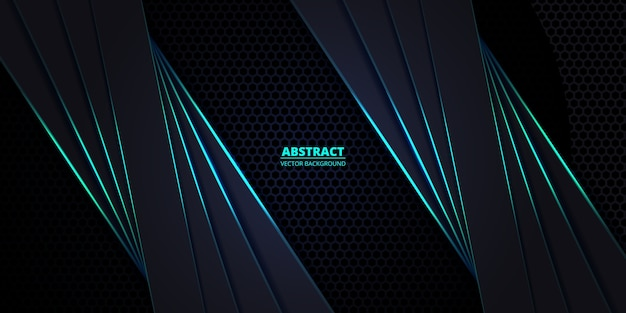 Dark and turquoise hexagonal carbon fiber background with turquoise luminous lines and highlights.