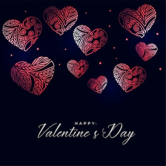 Dark valentines day background with decorative floral hearts