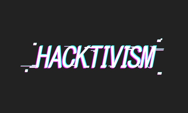Dark vector hacktivism illustration with glitch effect and damaged text on black background.
