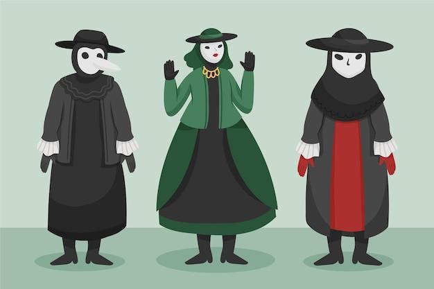Dark venetian carnival character costumes