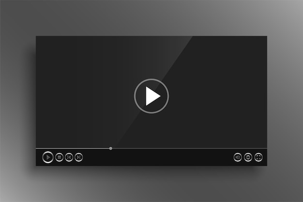 Dark video player with shiny silver buttons