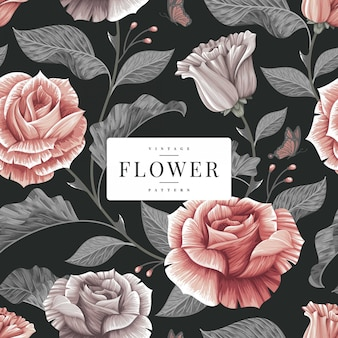 暗いヴィンテージ花柄テンプレート