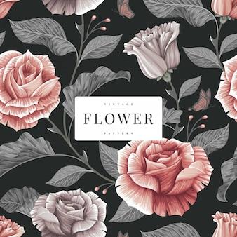 Dark vintage floral pattern template