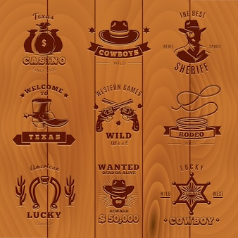 Dark vintage sheriff logo set with cowboys and sheriff descriptions