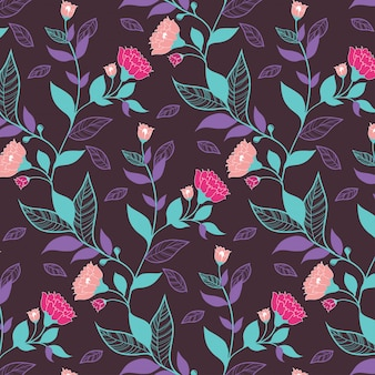 Dark violet floral pattern with leaves and pink flowers for wrapping paper