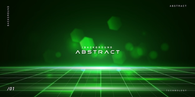 Dark virtual green abstract technology background