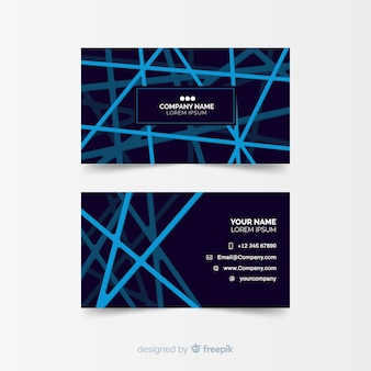 Dark visiting card template with blue lines