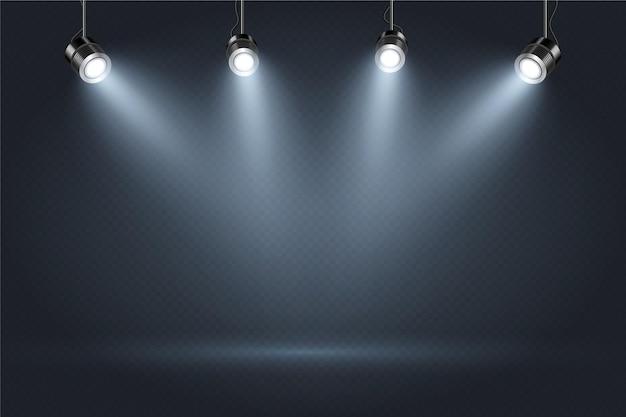 Темная стена с прожекторами