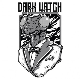 Dark watch black and white illustration