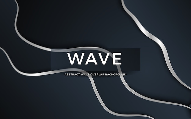 Dark wave abstract overlap background with silver line