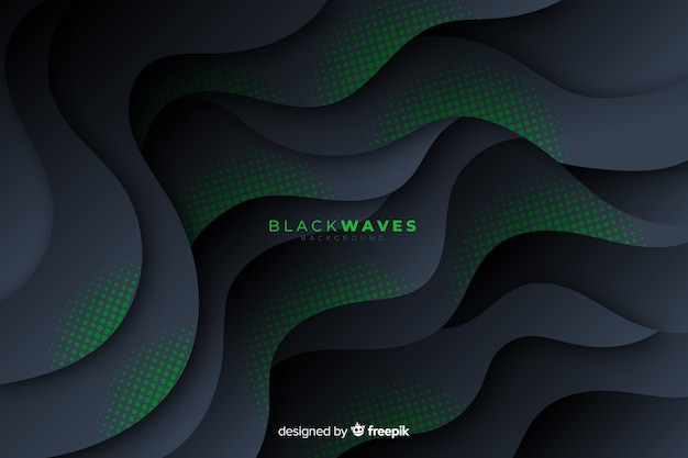 Dark waves background with halftone effect