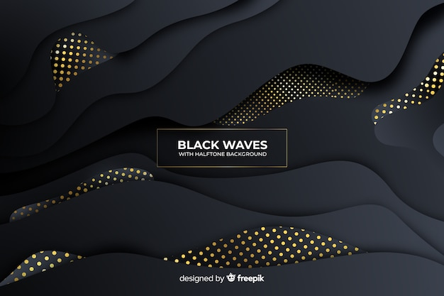 Dark wavy background with halftone effect
