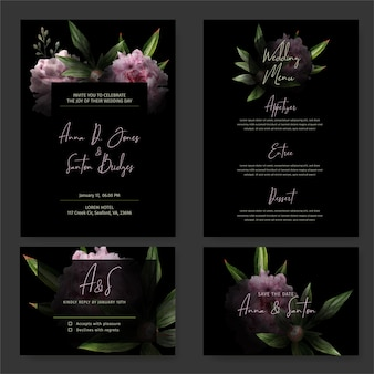 Dark wedding invitation kit, black background, hand drawn watercolor pink peonies and leaves drawn in low key, rsvp card, menu template. hand drawn watercolor illustration.