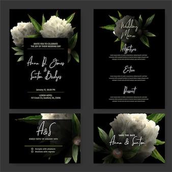 Темный набор свадебных приглашений, черный фон, рисованные акварельные белые пионы и листья, нарисованные в сдержанном ключе, карточка rsvp, шаблон меню. ручной обращается акварель иллюстрации.