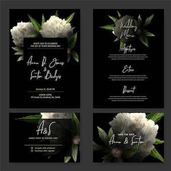 Dark wedding invitation kit, black background, hand drawn watercolor white peonies and leaves drawn in low key, rsvp card, menu template. hand drawn watercolor illustration.