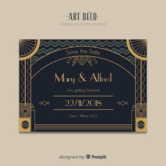 Темный шаблон приглашения на свадьбу в дизайне арт-деко