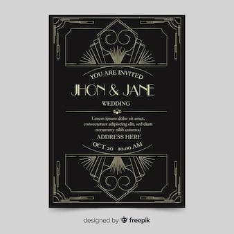 Dark wedding invitation template in art deco design