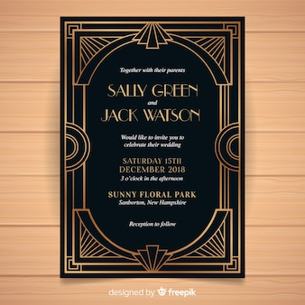 Dark wedding invitation template in art deco style