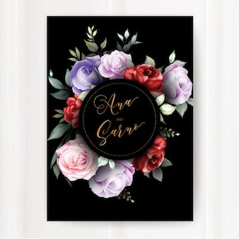Dark wedding invitation template with watercolor floral leaves