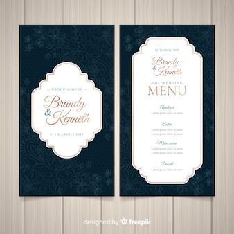 Dark wedding menu template
