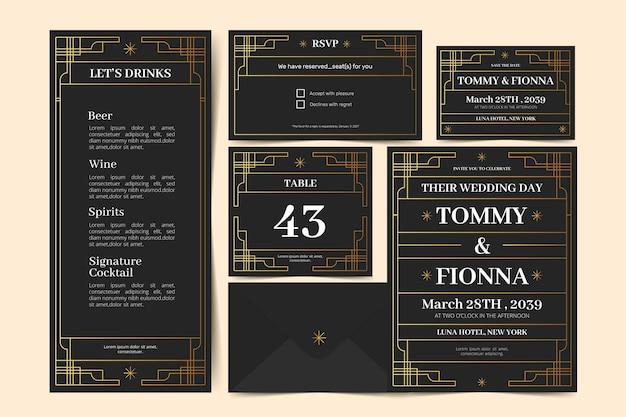 Dark wedding stationery template