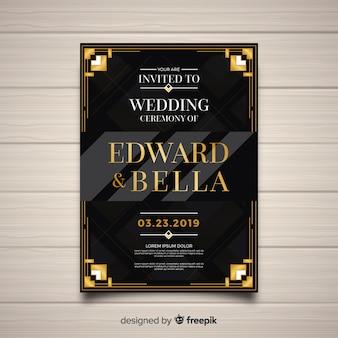 Dark wedding template in art deco style