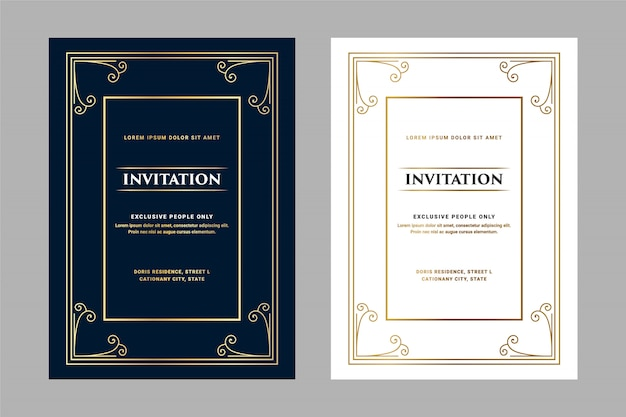 Dark and white luxury royal antique retro style invitation card for vip entry birthday party pass wedding anniversary and celebration