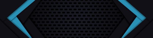 暗い広いバナー。ダークカーボンファイバーの質感。黒と青のテクスチャ背景。