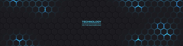 Dark wide hexagonal abstract technology banner with blue bright energy flashes under hexagon