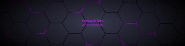 Dark wide hexagonal abstract technology banner