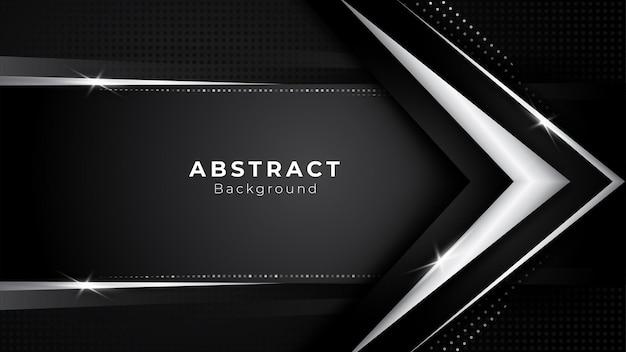 矢印の形と線で暗いシルバープラチナの形で背景に影響を与えるモダンで豪華なデザイン