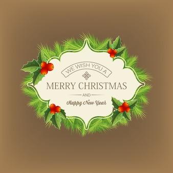 Темный с рождественскими поздравлениями, написанными посреди плоской иллюстрации хвойного венка