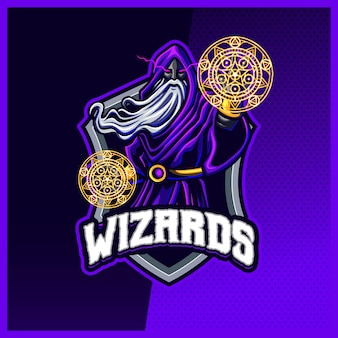 Dark wizard magician mascot esport logo design illustrations vector template, witch , magician logo for team game streamer youtuber banner twitch discord, full color cartoon style